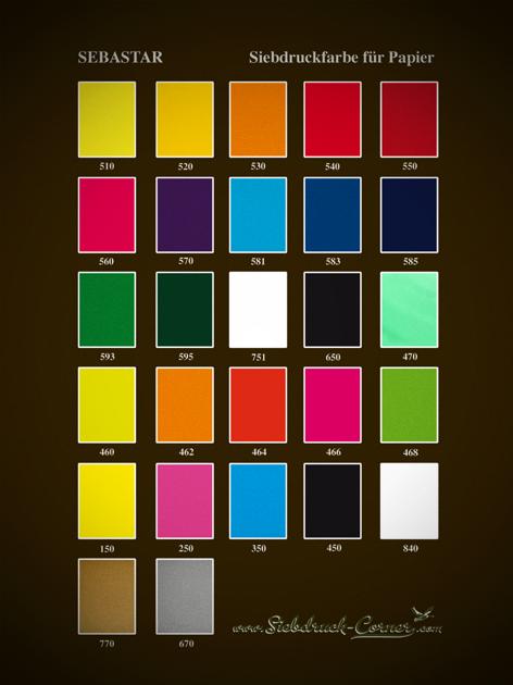 Sebastar Siebdruckfarbe auf Wasserbasis für den Papierdruck Farbkarte